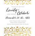 wedding golden invite save the date card design vector image vector image