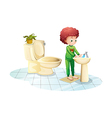 A young man washing his hands vector image vector image