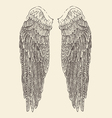angel wings engraved style hand vector image