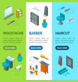 barber shop banner vecrtical set isometric view vector image