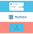 beautiful book and pencil logo and business card vector image vector image