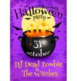 bright purple halloween party poster template vector image vector image