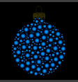 christmas bauble dotted design isolated on dark vector image vector image