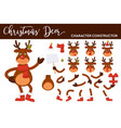christmas deer cartoon character constructor of vector image vector image