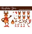 christmas deer cartoon character constructor vector image vector image