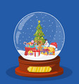 christmas snow globe with christmas tree vector image