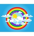 Circle rainbow and clouds blue sky vector image vector image