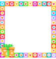 cute vibrant hearts phot frame with colorful vector image