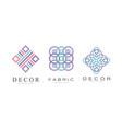 decor logo design set textile business logo vector image vector image
