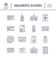 documents identity flat line icons id vector image vector image