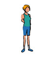 female character standing with casual clothes vector image vector image