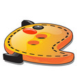 funny button in the shape of the contour yellow vector image vector image