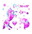 girl power-feminism motivational slogan geometric vector image vector image