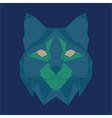 Green and blue low poly bobcat vector image vector image