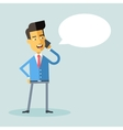 Handsome asian american manager talking on phone vector image vector image