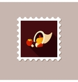 Harvest cornucopia flat stamp with long shadow vector image vector image