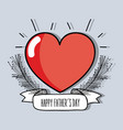 heart with branch and ribbon to father day vector image vector image
