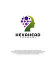 hexagone head logo head intelligence logo vector image