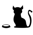 hungry cat with an empty bowl vector image vector image