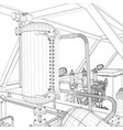 industrial equipment wire-frame vector image vector image