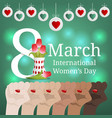 international womens day greeting card banner vector image vector image