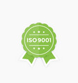 iso 9001 badge label vector image vector image