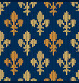knitted woolen pattern with golden royal lilies vector image vector image