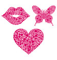 lipsheartbutterfly on white background vector image vector image