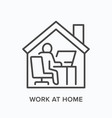 Man working on computer from home line icon