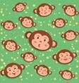 monkey head seamless pattern cartoon vector image vector image