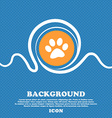 paw icon sign Blue and white abstract background vector image vector image