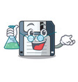 professor floppy disk isolated with a mascot vector image vector image
