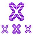 Purple line x logo design set vector image vector image