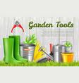 realistic garden tools horizontal vector image