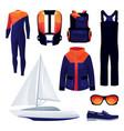 sailing equipment sport tools set icons vector image vector image