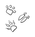 set animal tracks sketch style wolf vector image