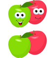 set of apples with leaf cute and funny red and vector image vector image