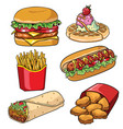 set of fast food collection vector image vector image