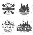 set of kayak camping and caravanning club badge vector image vector image