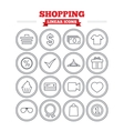 Shopping linear icons set Thin outline signs vector image