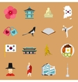 South Korea icons set flat style vector image vector image