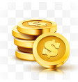 stack golden dollar coins isolated on vector image vector image