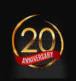template gold logo 20 years anniversary with red vector image vector image