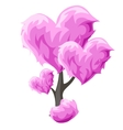 Tree with pink hearts element decor vector image