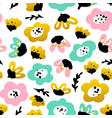 trendy flower seamless pattern vector image vector image