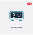 two color bitcoin storage icon from multimedia vector image vector image
