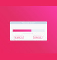 upload window with progress bar interface vector image