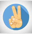 victory peace v sign hand gesture index middle vector image