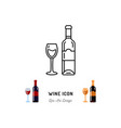 wine line icon a bottle wine and a glass red vector image vector image