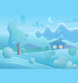winter cartoon house with smoke from chimney vector image